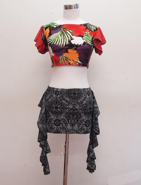 大柄花柄トップス2 ミラーナベリーダンス衣装