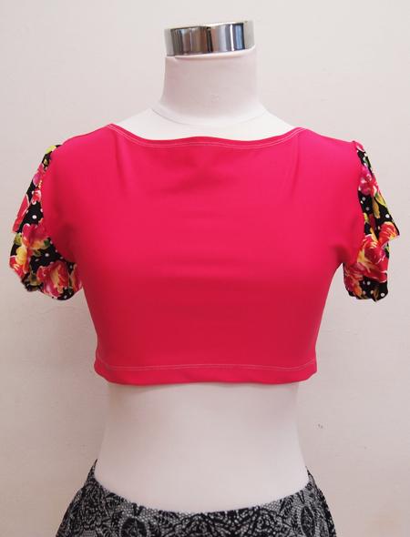 黒花フリル袖ピンクトップス1 ミラーナベリーダンス衣装