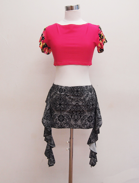 黒花フリル袖ピンクトップス2 ミラーナベリーダンス衣装