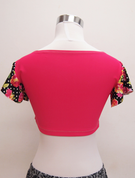 黒花フリル袖ピンクトップス2 ミラーナベリーダンス衣装3
