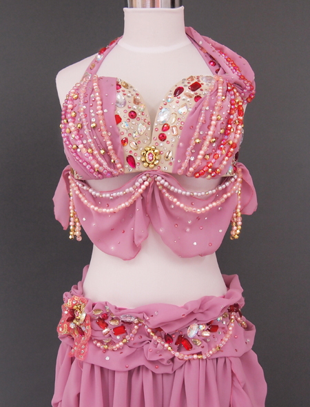 ドレープピンクベリーダンス衣装2 ミラーナ