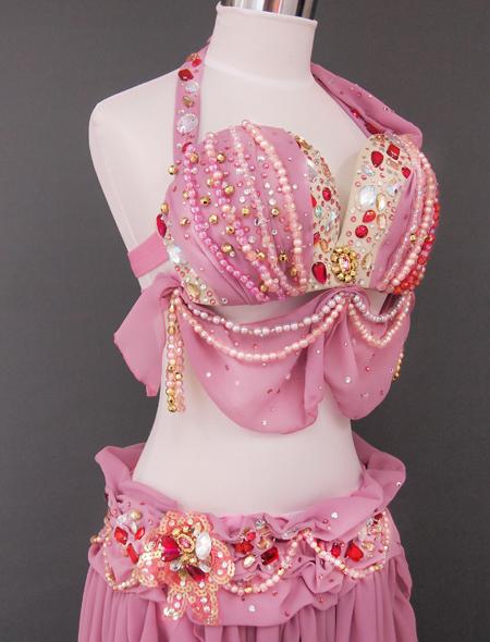 ドレープピンクベリーダンス衣装5 ミラーナ