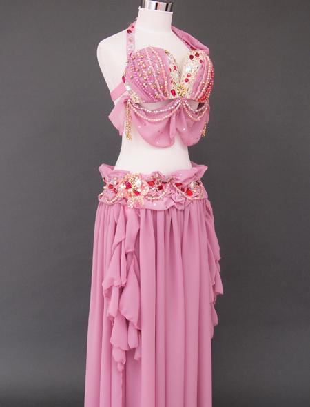 ドレープピンクベリーダンス衣装6 ミラーナ