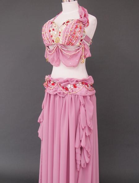 ドレープピンクベリーダンス衣装7 ミラーナ