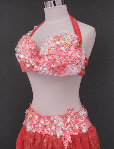 オレンジピンクベリーダンス衣装4 ミラーナ