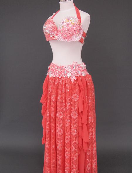 オレンジピンクベリーダンス衣装5 ミラーナ