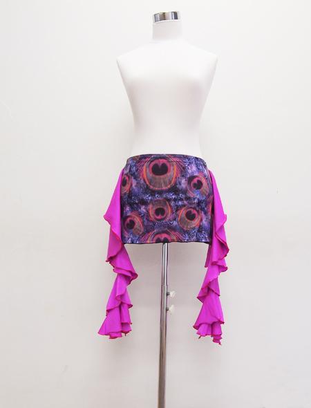 パープルフリルクジャク柄ヒップスカーフ1 MiLLANAベリーダンス衣装