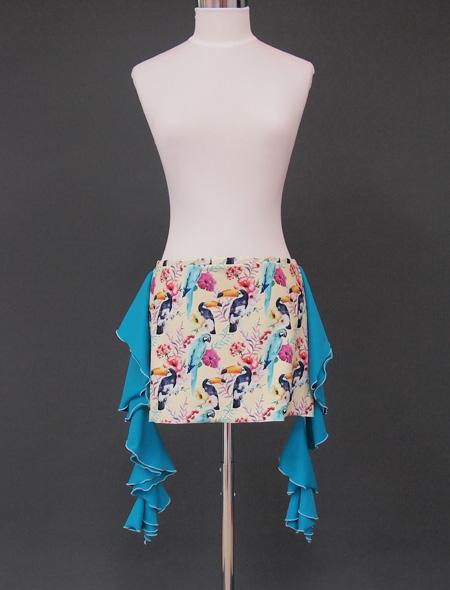 パステルイエローに鳥のプリントが可愛いヒップスカーフ ミラーナベリーダンス衣装