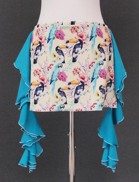 パステルイエローに鳥のプリントが可愛いヒップスカーフ2 ミラーナベリーダンス衣装