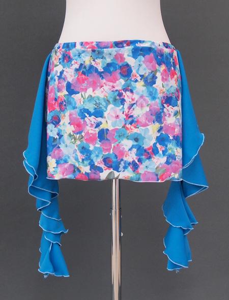 青の水彩画のような花柄が美しいヒップスカーフ2 ミラーナベリーダンス衣装