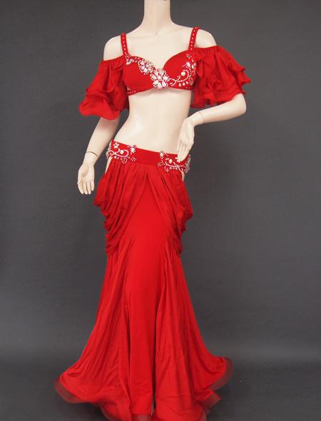 深紅フリル袖衣装1 ミラーナベリーダンス衣装