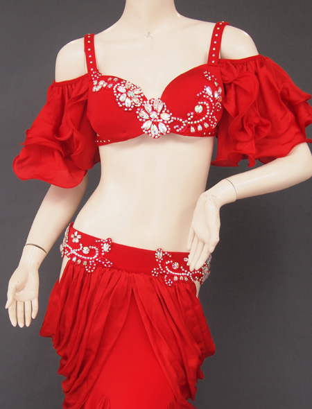 深紅フリル袖衣装2 ミラーナベリーダンス衣装