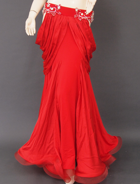 深紅フリル袖衣装3 ミラーナベリーダンス衣装