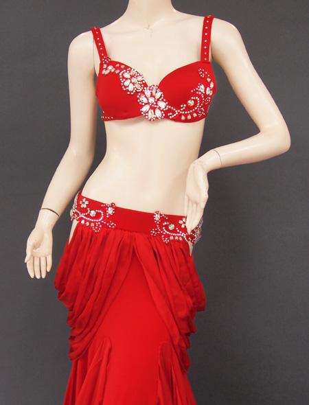 深紅フリル袖衣装7 ミラーナベリーダンス衣装