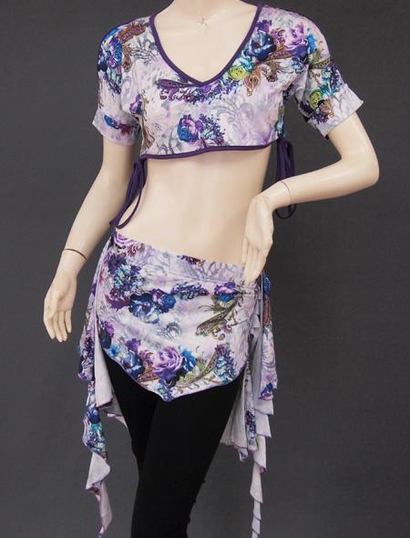紫花柄レッスンウエア2 ミラーナベリーダンス衣装
