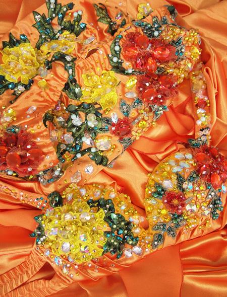 オレンジゴールド花モチーフ ベリーダンス衣装7 ミラーナ