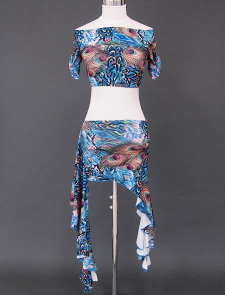 ブルー孔雀ウエアセット1 ミラーナベリーダンス衣装