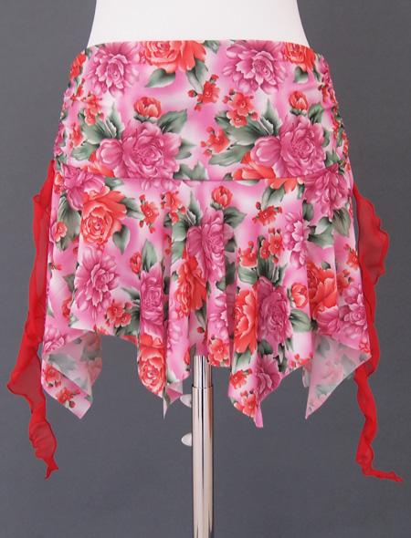 ピンク薔薇ヒップスカーフ5 ミラーナベリーダンス衣装