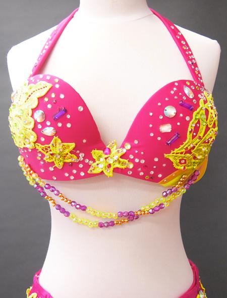 ピンクイエローコスチューム2 ミラーナベリーダンス衣装