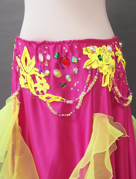 ピンクイエローコスチューム4 ミラーナベリーダンス衣装