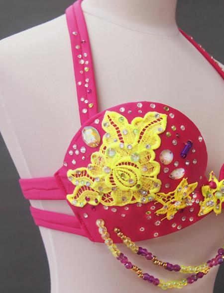 ピンクイエローコスチューム7 ミラーナベリーダンス衣装