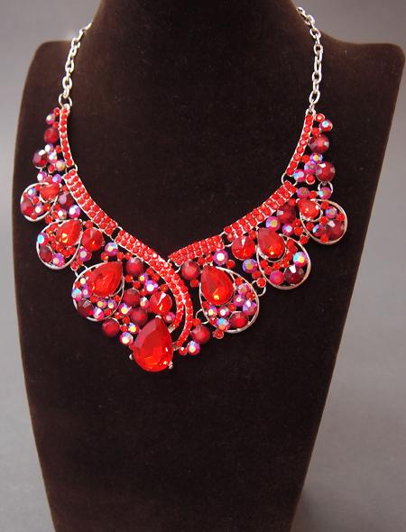 赤色ドロップネックレス・ピアス2 ミラーナベリーダンス衣装