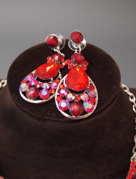 赤色ドロップネックレス・ピアス3 ミラーナベリーダンス衣装