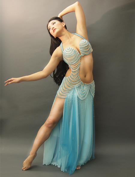 アシハスカル/ブルーのビーズが素敵な一体型ベリーダンス衣装1 ミラーナ