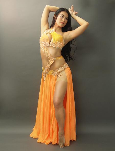 アシハスカル/オレンジの花柄一体型ベリーダンス衣装1 ミラーナ