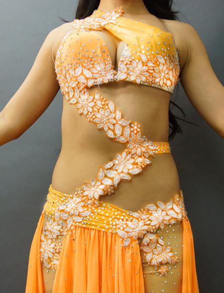 アシハスカル/オレンジの花柄一体型ベリーダンス衣装2 ミラーナ