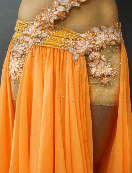 アシハスカル/オレンジの花柄一体型ベリーダンス衣装3 ミラーナ