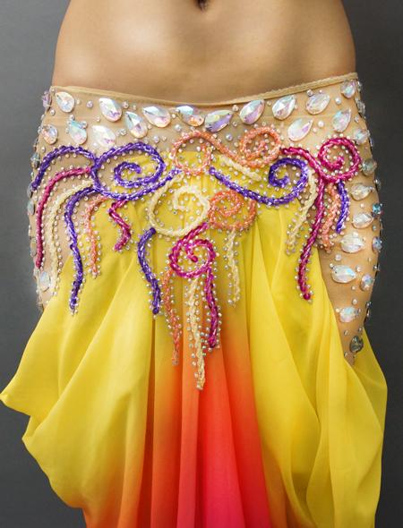 アシハスカル/黄色ベースのマーメイドラインが素敵なベリーダンス衣装 3ミラーナ