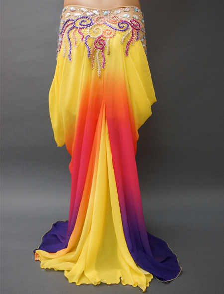 アシハスカル/黄色ベースのマーメイドラインが素敵なベリーダンス衣装4 ミラーナ