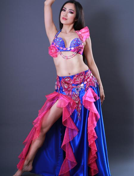 青フリル1 ミラーナベリーダンス衣装