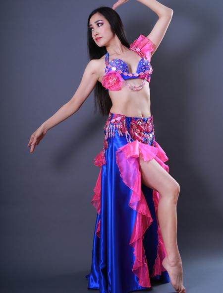 青フリル2 ミラーナベリーダンス衣装