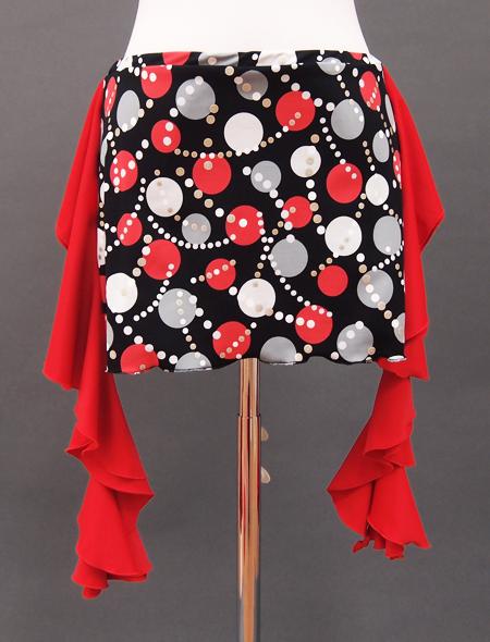 ドット柄赤ヒップスカーフ2 ミラーナベリーダンス衣装