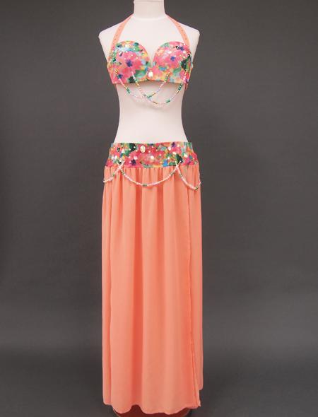 サーモンピンクベリーダンス衣装1 ミラーナ