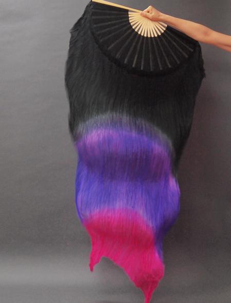 シルクファンベール 黒-紫-ピンク ミラーナベリーダンス衣装