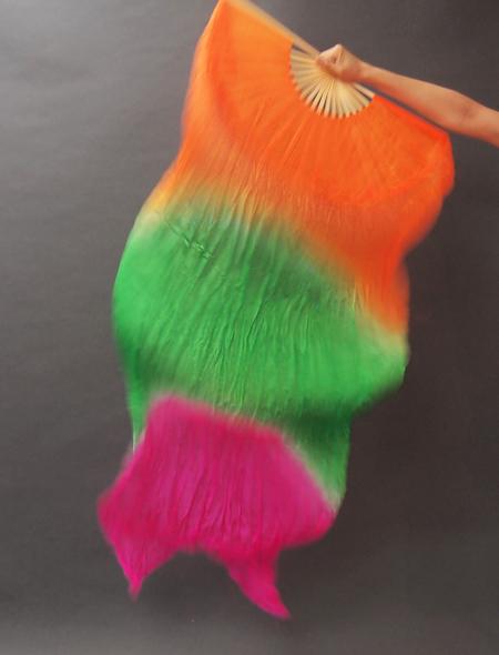 シルクファンベール オレンジ-緑-ピンク ミラーナベリーダンス衣装