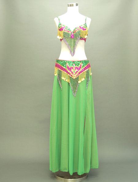 緑にピンクがアクセントな格安ベリーダンス衣装 ミラーナ