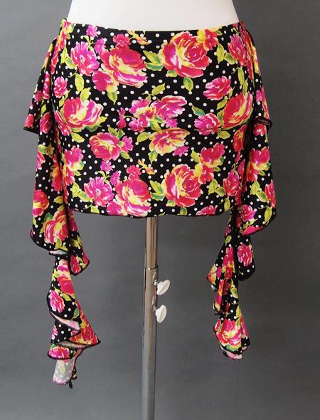 黒に花柄のヒップスカーフ/コインなし2 MiLLANAベリーダンス衣装