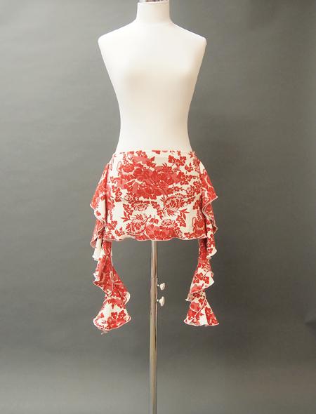 白地に赤の花柄ヒップスカーフ MiLLANAベリーダンス衣装