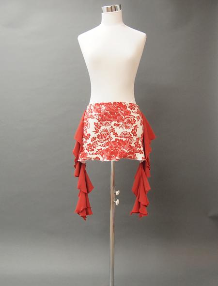 赤フリルとダマスク調の花柄ヒップスカーフ MiLLANAベリーダンス衣装