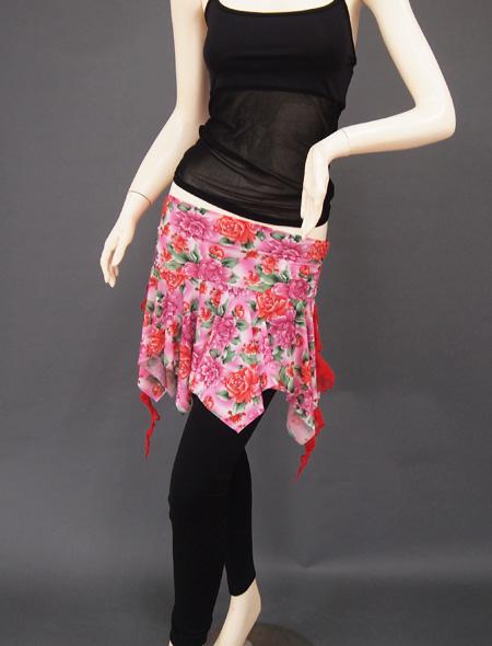 ピンク薔薇ヒップスカーフ1 ミラーナベリーダンス衣装