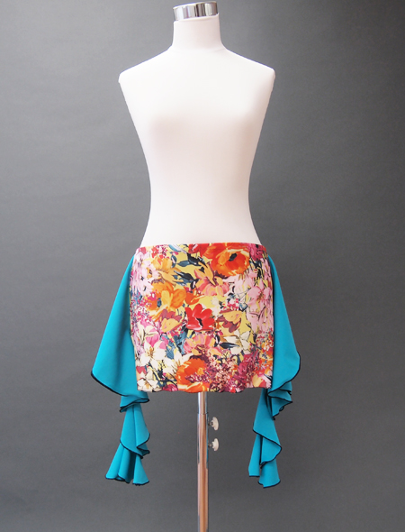 青フリル黄色花柄ヒップスカーフ ミラーナベリーダンス衣装