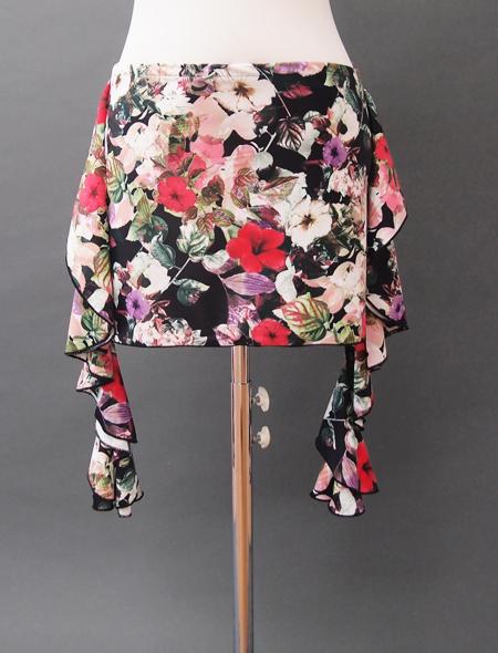 黒地花柄プリントヒップスカーフ ミラーナベリーダンス衣装2
