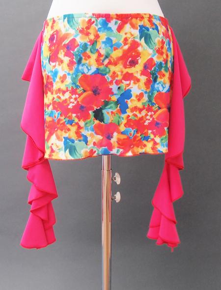 オレンジ花ヒップスカーフ ミラーナベリーダンス衣装2
