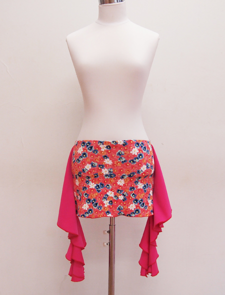 ピンクフリル小花柄ヒップスカーフ ミラーナベリーダンス衣装
