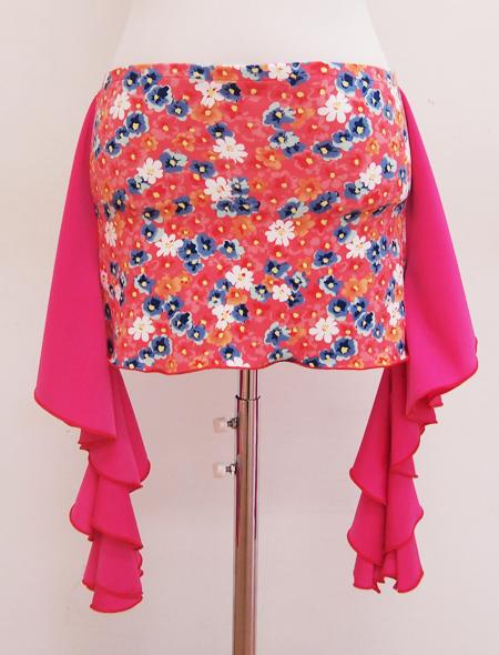 ピンクフリル小花柄ヒップスカーフ ミラーナベリーダンス衣装2