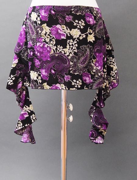 黒紫ペイズリーヒップスカーフ ミラーナベリーダンス衣装2
